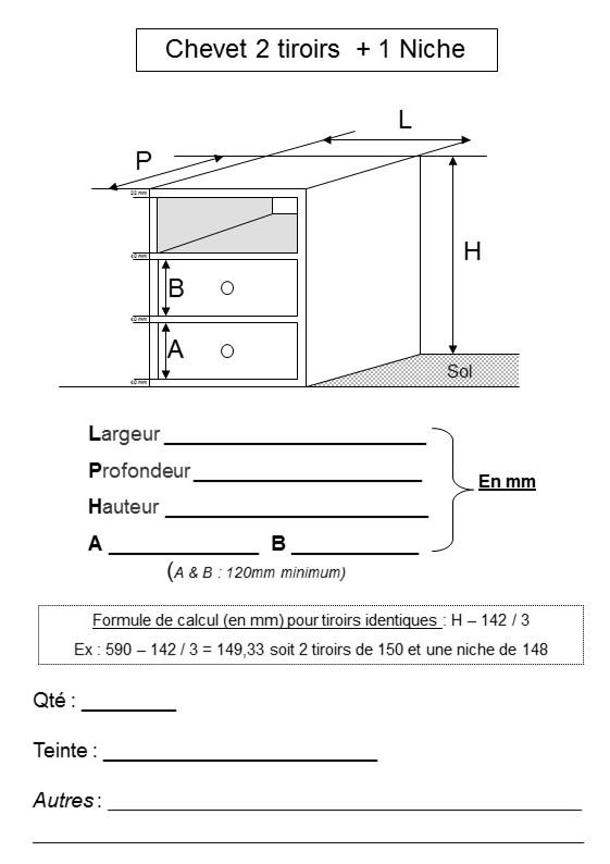 plan chevet 1 niche-2 tiroirs literie westelynck