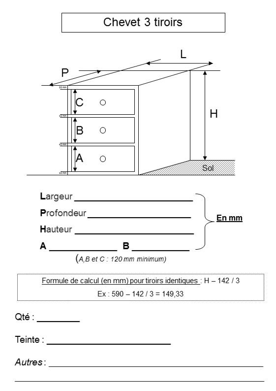 plan chevet 3 tiroirs literie westelynck